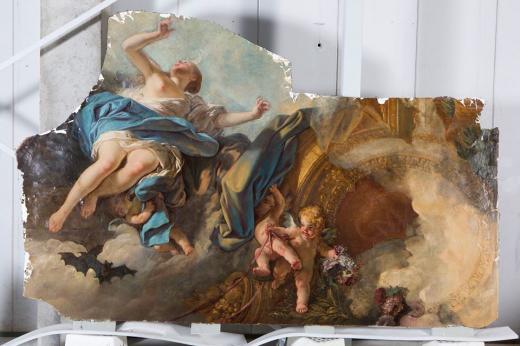 L-J. Durameau : Lever de l'Aurore, 1768-1769, chambre de Mme de Voyer (détail)