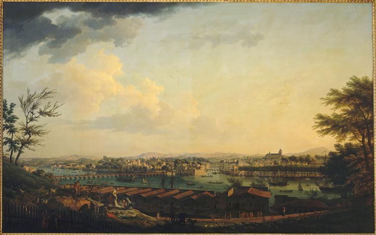 Claude-Joseph Vernet : Le port de Bayonne depuis la citadelle, 1760 (Paris, musée de la Marine)
