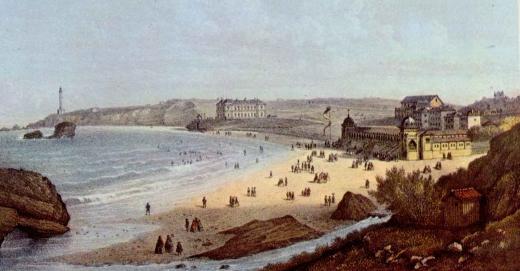 Vue de Biarritz depuis le bout de la plage de l'Impératrice, milieu XIXe siècle