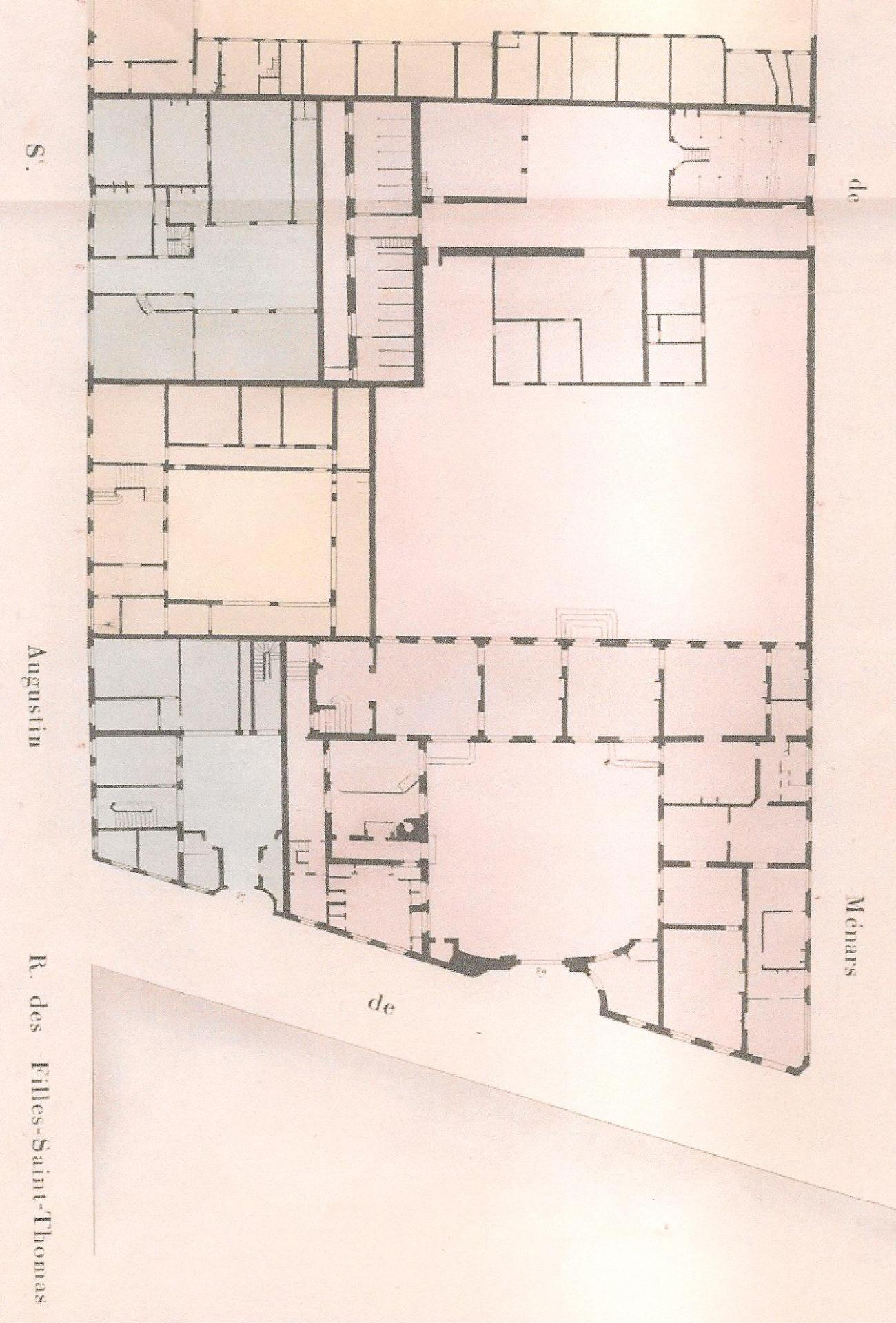 Plan cadastral de l'ensemble Boutin (grand et petit hôtel + maison à loyer), 1814, Archives nationales, F31/76, n° 21, Atlas Vasserot