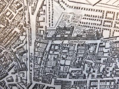 Paris, Hôtel de Condé et Hôtel de Tréville, entre les rues de Tournon, Vaugirard et Condé, face au Luxembourg, plan de Gomboust, 1652, cl. Ph. Cachau