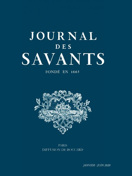 Journal des Savants, 1er semestre 2020