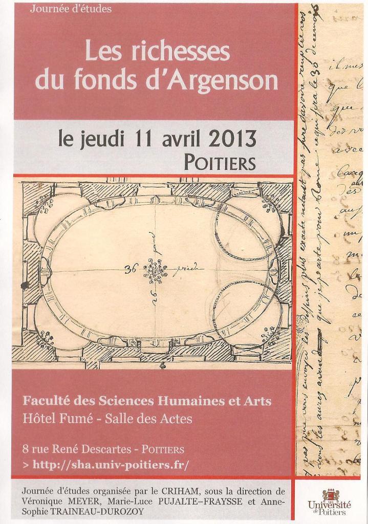 Journée d'études D'Argenson, Poitiers, avril 2013