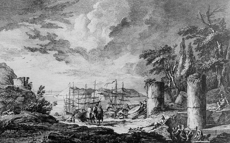 Débarquement de Julien-David Le Roy sur une île de Grèce en 1754, gravure Jacques-Philippe Le Bas, 1758.