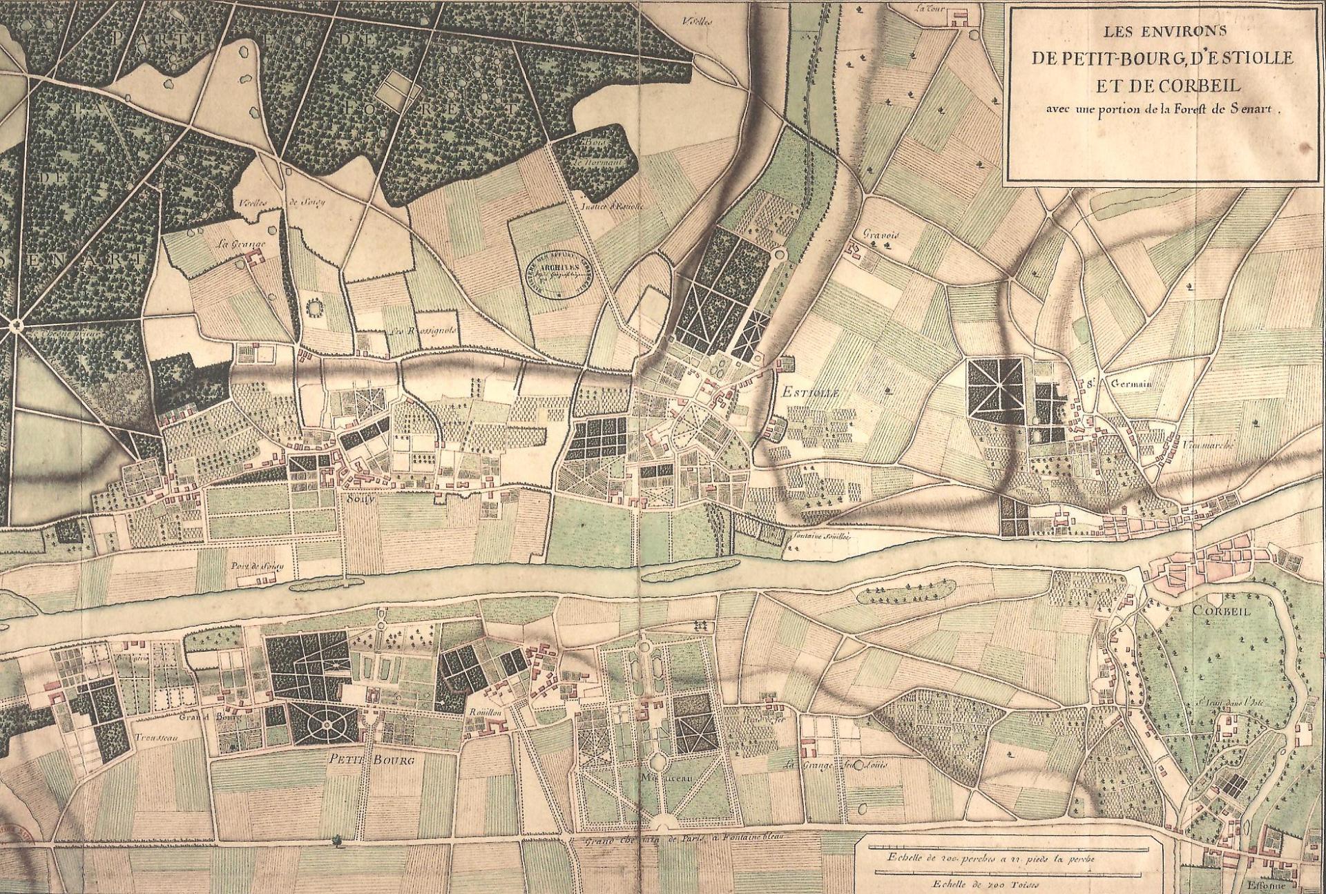 Seigneuries de Petit-Bourg (en bas), de Soisy (en face) et d'Etiolles (à droite), XVIIIe sièlce, cl. Ph. Cachau