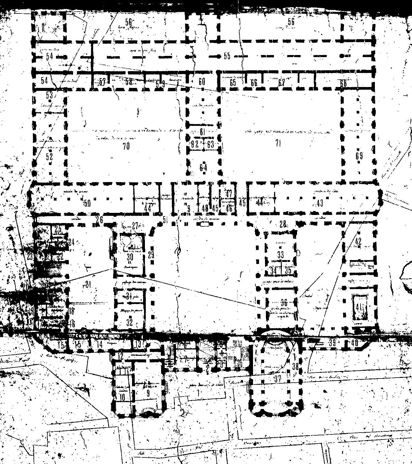 Mansart de Sagonne (de Lévy), plan du projet pour l'Hôtel-Dieu de Marseille, 1753, Arch. dép. Bouches du Rhône