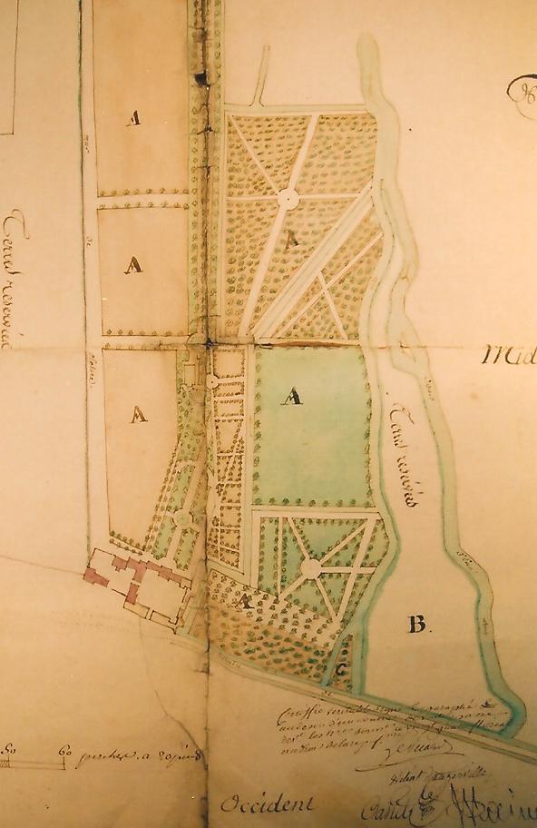 Plan du domaine de Montauger au XVIIIe siècle (Archives nationales, cl. Ph. Cachau).