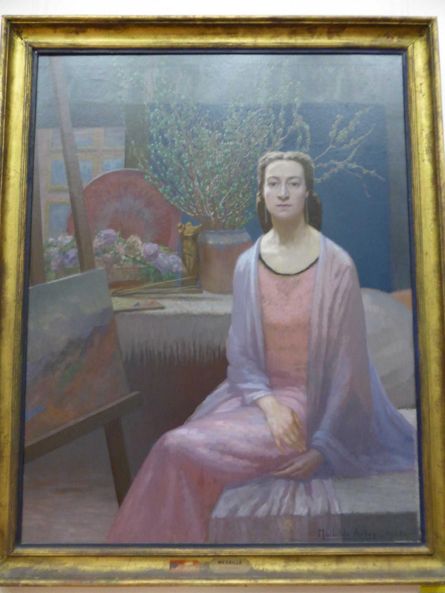 Mathilde Arbey, Fin de journée - Autoportrait dans l'atelier, 1928, Libourne, Musée municipal (cl. Ph. Cachau)