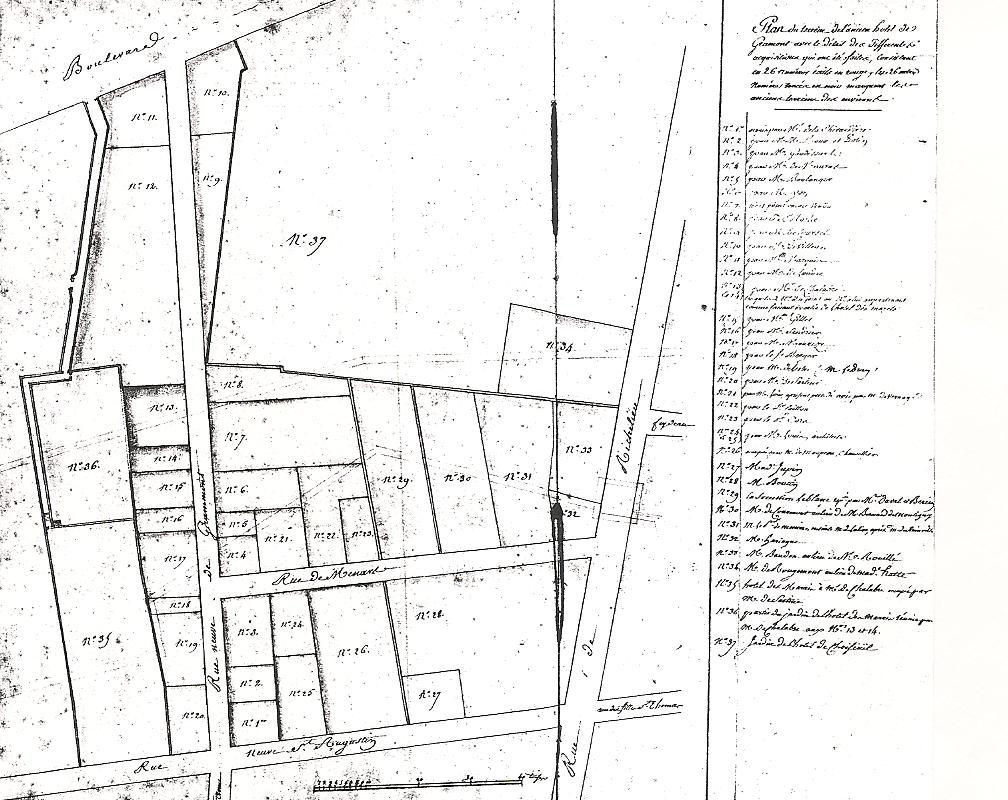 Plan de lotissement de l'hôtel de Gramont, vers 1766, Archives nationales, Q 2/216